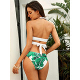 By My Side White & Green Tropical Bikini Swimsuit - Fashion Genie Boutique