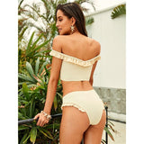Sorbae Beige Bardot Bikini Swimsuit - Fashion Genie Boutique