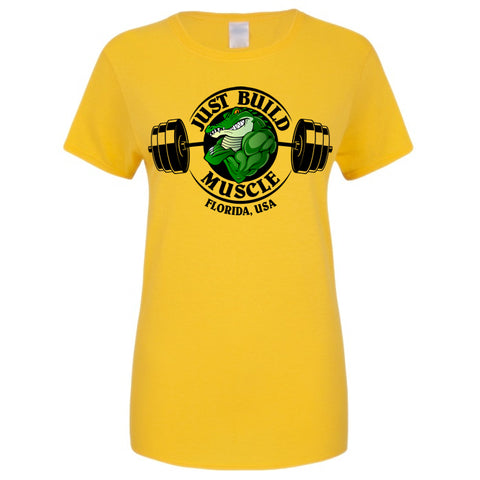 "T-Shirt ""Just Build Muscle"" yellow woman"