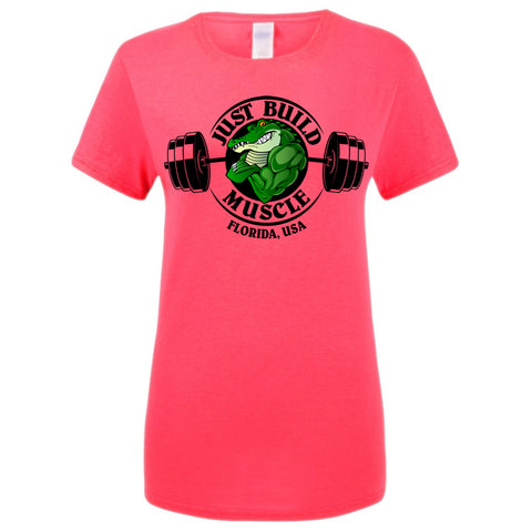 "T-Shirt ""Just Build Muscle"" pink woman"