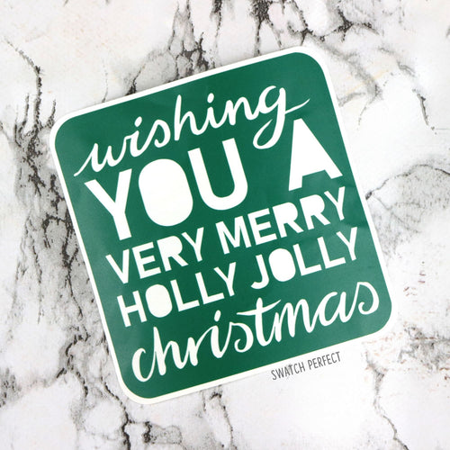 Wishing You A Very Merry Holly Jolly Christmas - Word Stencil