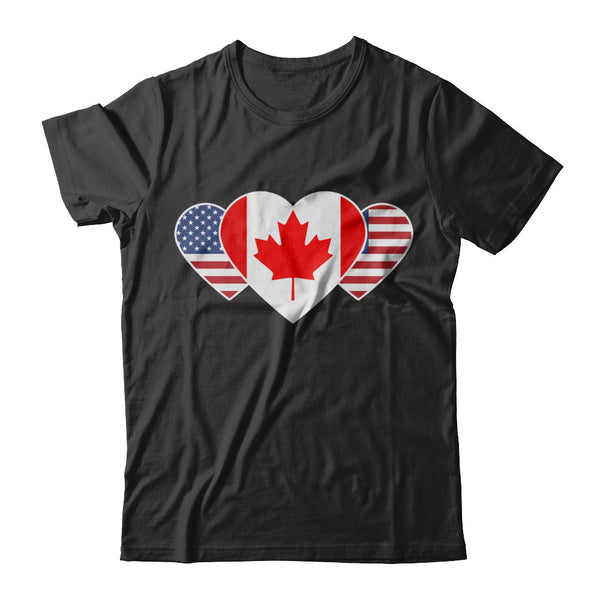 Canada USA Flag Twin Heart for Canadian American T Shirt