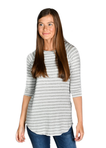 Striped Raglan: Heather Gray/White