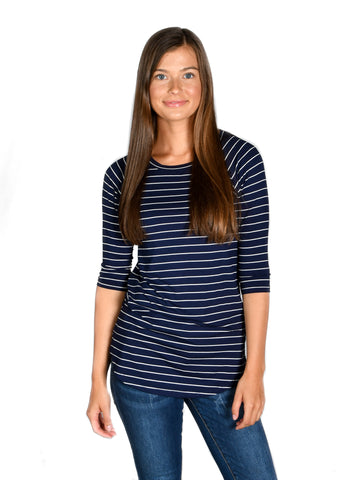 Striped Raglan: Navy/White