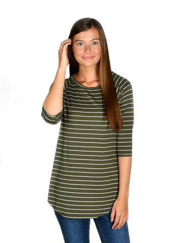 Striped Raglan: Olive/White