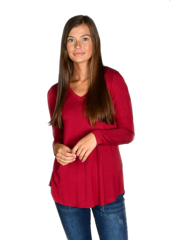 Wine Long Sleeve V-Neck Tee