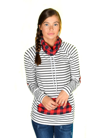 Buffalo Plaid Funnel Neck