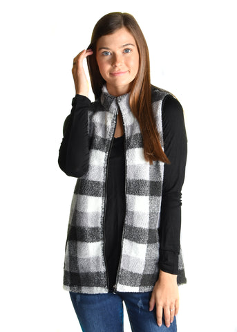 Black Checked Berber Fleece Vest