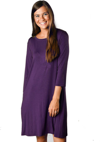 3/4 Sleeve Deep Plum Pocket Tunic Dress