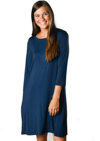 3/4 Sleeve Navy Pocket Tunic Dress