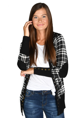 Plaid Snap Cardigan