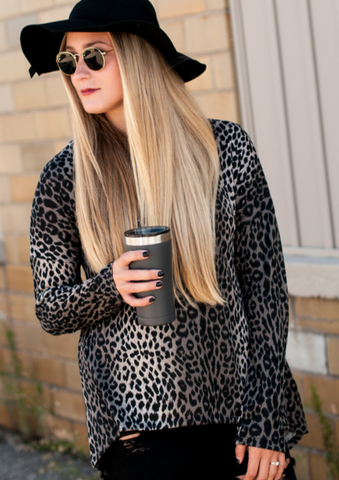 Taupe Leopard A-Line Funnel Neck