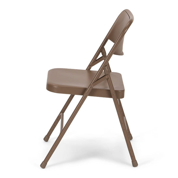 Titan Series Premium Triple-Braced Steel Folding Chair - Beige