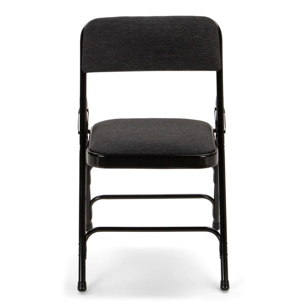Titan Series Premium Triple-Braced Fabric Padded Metal Folding Chair - Black