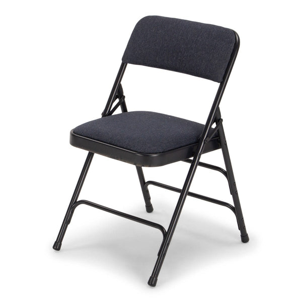 Titan Series Premium Triple-Braced Fabric Padded Metal Folding Chair - Navy Fabric