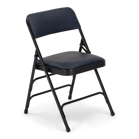 Titan Series Premium Triple-Braced Vinyl Padded Metal Folding Chair - Navy Blue