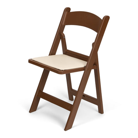 TitanPRO Brown Resin Folding Chair with Ivory Pad
