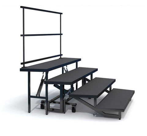 4-TIER STRAIGHT FOLDING CHORAL RISERS W GUARDRAIL- CARPET FINISH
