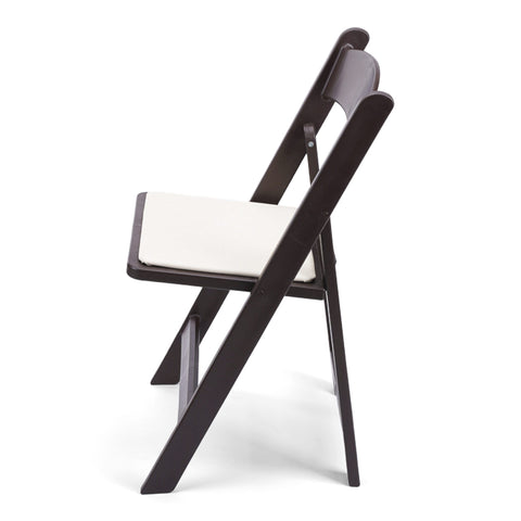TitanPRO Dark Brown Resin Folding Chair with Ivory Pad