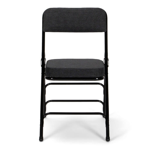Titan Series Premium Triple-Braced Fabric Padded Metal Folding Chair - Black Fabric 2'' Cushion