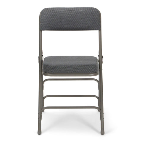 Titan Series Premium Triple-Braced Fabric Padded Metal Folding Chair - Gray Fabric/Gray Frame with 2'' Cushion