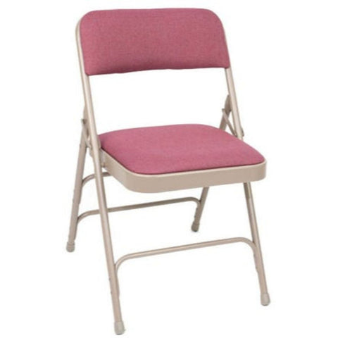 Titan Series Premium Triple-Braced Fabric Padded Metal Folding Chair - Cabernet