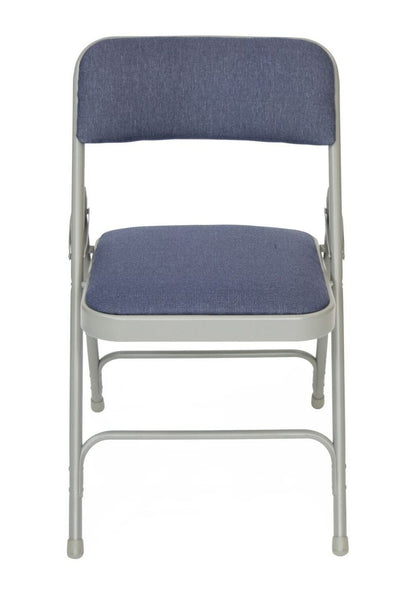 Titan Series Premium Triple-Braced Fabric Padded Metal Folding Chair - Grey with Navy Fabric