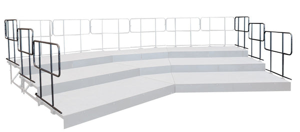Side Guard Rails for 4 Tier Straight Seated Riser System - 24' Long (Fits 48 to 60 Chairs)