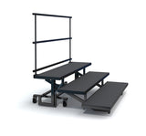 3-TIER STRAIGHT FOLDING CHORAL RISERS W GUARDRAIL- CARPET FINISH