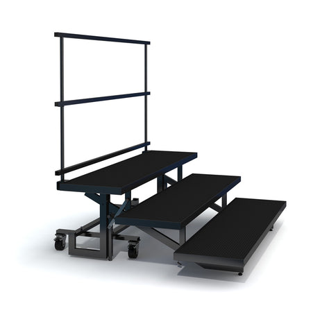 3-TIER STRAIGHT FOLDING CHORAL RISER W GUARDRAIL - INDUSTRIAL FINISH