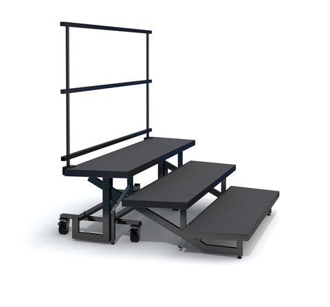 3-TIER WEDGED FOLDING CHORAL RISERS W GUARDRAIL - CARPET FINISH