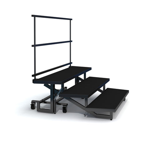 3-TIER WEDGED FOLDING CHORAL RISERS W GUARDRAIL- INDUSTRIAL FINISH