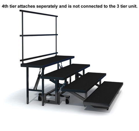 4-TIER STRAIGHT FOLDING CHORAL RISER W GUARDRAIL - INDUSTRIAL FINISH