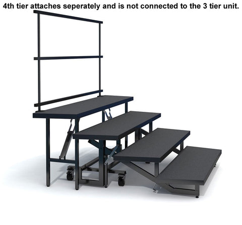 4-TIER WEDGED FOLDING CHORAL RISERS W GUARDRAIL - CARPET FINISH