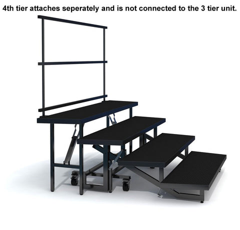 4-TIER WEDGED FOLDING CHORAL RISERS W GUARDRAIL- INDUSTRIAL FINISH