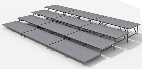 4 Tier Straight Seated Riser System - 24' Long (Fits 48 to 60 Chairs)