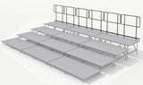 Rear Guard Rails for 4 Tier Straight Seated Riser System - 24' Long (Fits 48 to 60 Chairs)