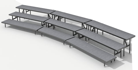 3 Tier Choral Riser System - 18 Long (fits 33 to 44 People)