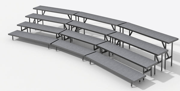 4 Tier Choral Riser System - 19' Long (fits 45 to 56 People)