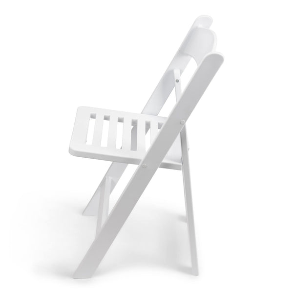 TitanPRO White Resin Folding Chair with Slatted Seat