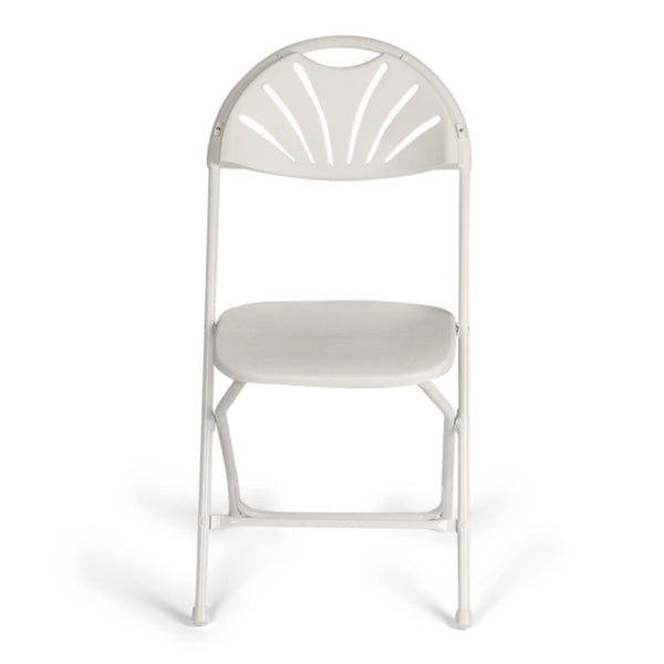 TitanPRO Fanback Plastic Folding Chair-White