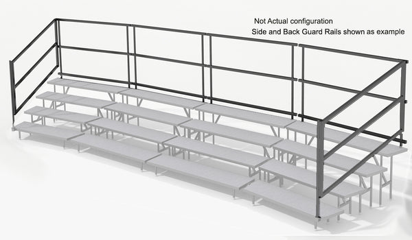 Side Guardrails for 3 Tier Choral Riser System - 41' Long (fits 63 to 96 People)