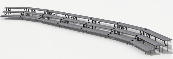 3 Tier Choral Riser System - 41' Long (fits 63 to 96 People)