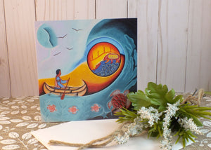 Blank Folding Greeting Cards & Envelopes Materials: standard card stock, print of original paintings All occasion gorgeous blank cards and envelopes Artwork done by Loretta Gould  Mi'kmaq Artist from Nova Scotia (Waycobah First Nation)