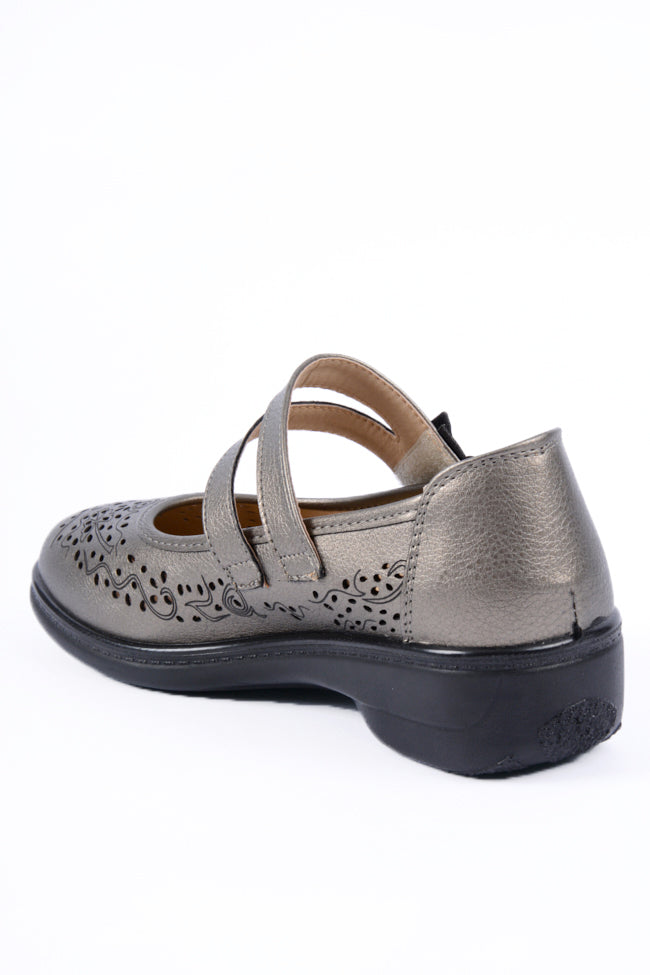Oprah Pewter Metallic Dr Lightfoot Shoe 3x8