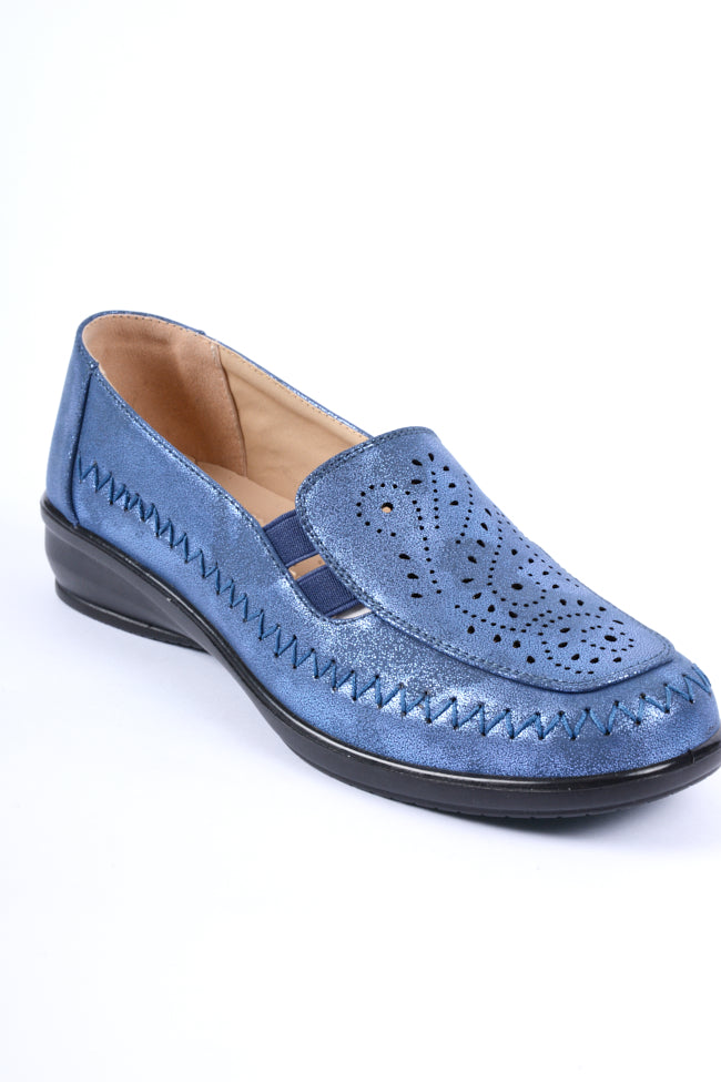 Florence Blue Metallic Dr Lightfoot Leisure Shoe 4x8