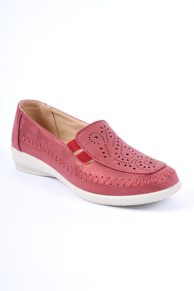 Florence Red Metallic Dr Lightfoot Leisure Shoe 4x8
