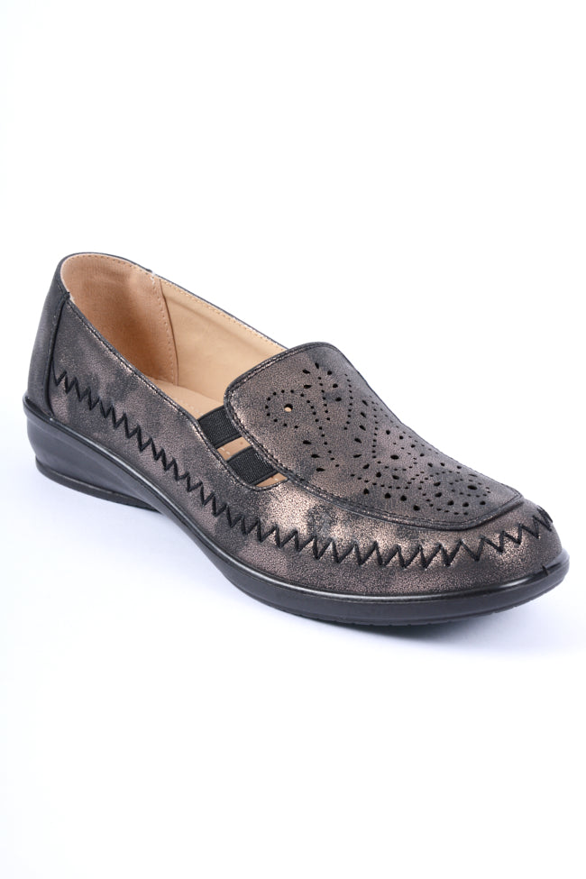 Florence Black Metallic Dr Lightfoot Leisure Shoe 4x8