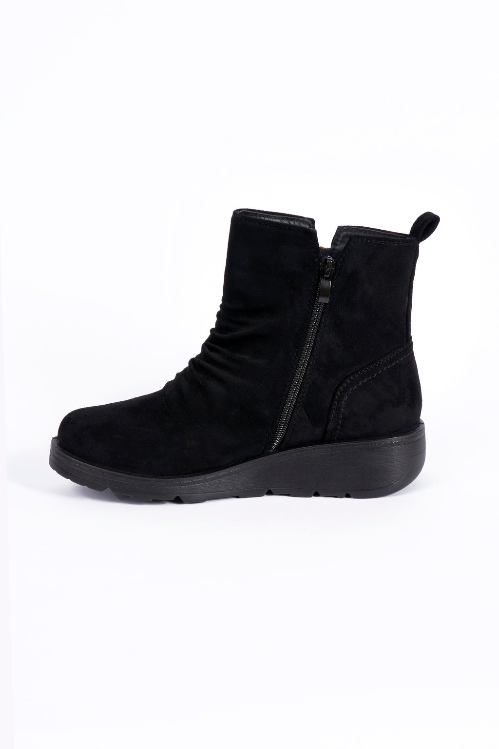 Julia Black Wedge Wide Fit PU Ankle Boot   Sizes : 4-8