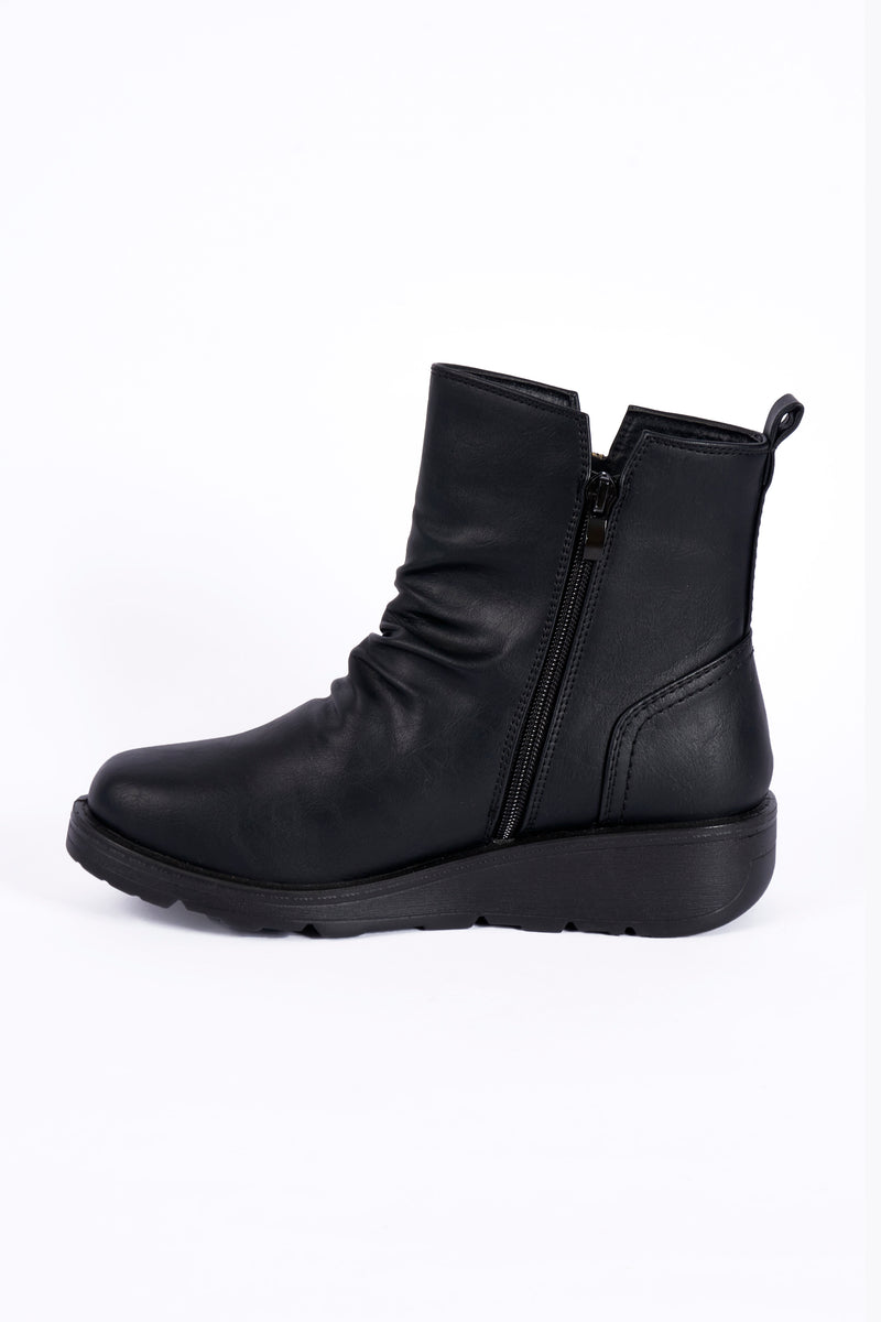Julia Black Wedge Wide Fit PU Ankle Boot   Sizes : 3-8